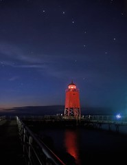 Under the Big Dipper (T P Mann Photography) Tags: tripod tamron canon lakemichigan reflections red longexposure michigan charlevoix lighthouse night sky stars