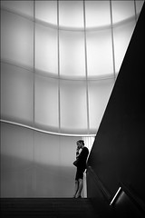 convince me otherwise (bostankorkulugu) Tags: architecture mudec museodelleculturedimilano museodelleculture milan milano italy italia lombardy lombardia woman phone mobilephone windows light stairs