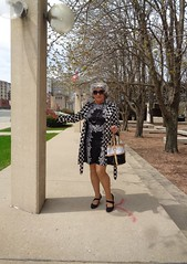 Out-And-About On A Lovely Sunday (Laurette Victoria) Tags: downtown milwaukee laurette woman raincoat purse silver sunglasses