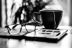 128 ~ 365 (BGDL ~ Falling Behind But Will Catch Up!!) Tags: lightroomcc nikond7000 bgdl bwno7~365again niftyfifty nikkor50mm118gnikon blackandwhite kitchen cupoftea readingglasses kindle mightaswell