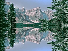 Reflection (glenn2meyer) Tags: moraine lake alberta canada canadian rockies reflection snow trees nature landscape sony cybershot valley ten peaks banff scenic vista sky glacialfed