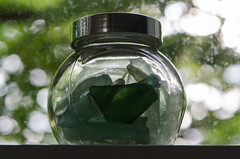 Thames foreshore glass (Spannarama) Tags: glass shards pieces jar window tree leaves backlit seaglass windowsill