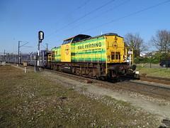 Railfeeding ( Genesee&Wyoming Railroad Group) V100 Diesel Loco with Empty Auto Train at Venlo,the Netherlands, April 10,2019 (Treinemanke) Tags: rf railfeeding geneseewyomingrailroadgroup geneseewyoming railroad group v100 diesel locomotive