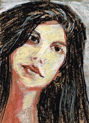 Modern Model (kevin63) Tags: lightner drawing woman workbasket portrait painting long dark hair young modern recent