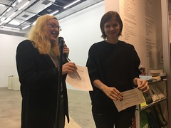 Svetlana and Katie introducing their amazing Adult Contemporary show (olive witch) Tags: 2019 abeerhoque fem indoors mar19 march night nyc pair reading
