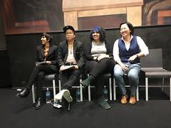 Ashna (left) and other poet humans (olive witch) Tags: 2019 abeerhoque group indoors mar19 march night nyc reading