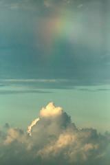 Caribbean Clouds (peterkelly) Tags: digital canon 6d northamerica gadventures mayandiscovery belize cayecaulker rainbow plane airplane clouds rain aerialphotography aerialphotos caribbeansea