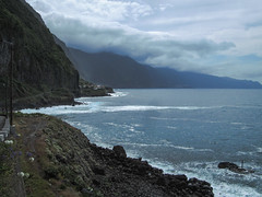 The coastline at São Vincente (RIch-ART In PIXELS) Tags: sãovincente madeira portugal coastline coast shore cliff rockformation ocean atlantic sky cloud road canon water lava landscape seascape