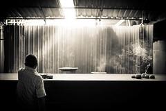 Smokey Meditation (Michael Lloyd - Media Guy) Tags: meditation travel sepia smoke smoking incense frankincense michaellloyd malaysia penang georgetown asia