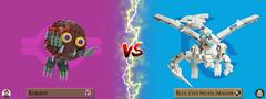 Kuribot VS Blue Eyes Mecha Dragon ! (Loysnuva) Tags: lego yugioh duel system monsters monster magic wizards cards yugi kaiba kuriboh blue eyes white dragon loysnuva bionifigs moc tcg ocg card