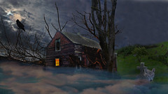 night scene (xtremepeaks) Tags: night clouds moon raven wolf house haunted tomb cemetery fog halloween scary spooky cross old