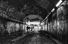Leake Tunnel - London (photofitzp) Tags: bw blackandwhite leaketunnel silhouette streetart waterloo bleak grubby stealingshadows
