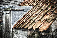 shed roof | Lindisfarne Island | Northumberland (Weir View) Tags: photo intimatelandscape shed roof texture stone concrete rooftiles lindisfarneisland northumbria england