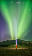 Silence (Perez Alonso Photography) Tags: iceland landscape landmannalaugar night nightscapes mountains aurora borealis boreal northernlights arctic person people light lantern green lady sky galaxy andromeda