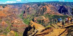 Waimea Canyon on the island of Kauai, Hawaii (lhboudreau) Tags: waimeacanyon waimea canyon kauaihawaii kauai hawaii river redsoil redsand redwater eroded erosion hawaiian island pacific america outdoor outdoors landscape people overlook lookout sky