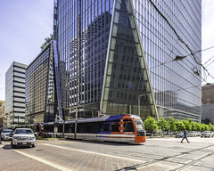 609 Main at Texas - Downtown Houston (Mabry Campbell) Tags: 609mainattexas harriscounty hines houston pickardchilton texas usa architecture building downtown exterior image photo photograph skyscraper tower train f71 mabrycampbell april 2019 april22019 20190402houstoncampbellh6a6687pano 24mm ¹⁄₁₂₅sec 100 tse24mmf35lii