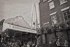 Street Scene in London (Michael Guttman) Tags: london england boroughmarket themarketporter alehouse shard streetscene blackandwhite bw monochrome