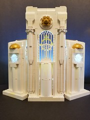 Battle Angel Ariadne's Sanctuary: Exterior (PlasticPauper) Tags: lego toy diorama heaven god angel archangel smite paladin church cathedral altar holy battle gothic architecture interior macro mosaic nave sanctuary gold alabaster moc notredame