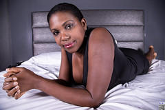Sober sensuality (tnekralc) Tags: model kirezi sexy sex black dress bed sheets motel room head face eyes mouth lips hair shoulder arms hands body legs feet cleavage sober sensuality