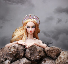 Washed up ‍♀️ (pure_embers) Tags: pure embers doll dolls uk pureembers photography laura england kai poppy parker emberskai rimdoll ooak repaint portrait mermaid rocks washed up dark skies
