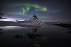 - Kirkjufell night reflection - (verbildert) Tags: aurora borealis iceland northern light kirkjufell night stars reflections