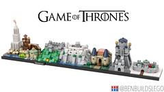 Lego Game of Thrones - Westeros Skyline MOC (BenBuildsLego) Tags: game thrones lego legos skyline architecture art westeros brick bricks micro microscale nano scale nanoscale casterly rock winterfell red keep sept baelor eyrie benbuildslego 3d render hbo