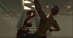 Basement Brawl (roxxiesukra) Tags: secondlife second life sl roleplay rp role playing character characters male female fight fighting boxing mma training winning ko punch throw falling fighter survivor greatest feeling alive beat up basement club crackden den