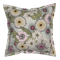 Australian garden chalk serama throw pillow (Scrummy Things) Tags: banksia sturtsdesertrose albanydaisy eucalyptusleaves australia australianflora floral flowers nature illustration sharonturner scrummy spoonflower serama roostery throwpillow