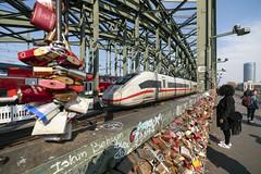 The Love Bridge (sullivan1985) Tags: cologne köln hbf germany bridge ice intercityexpress db train high speed express hohenzollern love locks padlocks