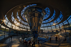 Reichstag Dome (Sarah Marston) Tags: berlin germany reichstagdome bundestag april 2019 fisheye samyangfisheye sunset lensflare dome curves people reflection sony ilce6300 dusk