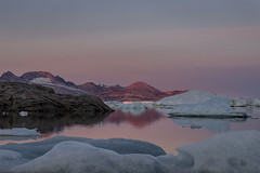 Mudderbugt; approaching midnight......... (apcmitch) Tags: icebergs ice mountains fjords evening eastgreenland2014 greenland dolphin sonya7 sailing anchorages