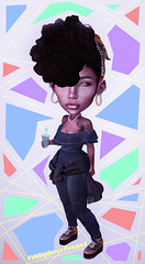 Big Head Bitch (Fubbydover Peapod) Tags: catwa maitreya avatar fashion nightlook thelook hair outfit earrings jewelry secondlife sl model daylook afro headwrap blackgirl fashionista