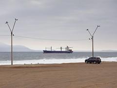 Strandparkplatz (Ralph Ueschner) Tags: chile antofagasta auto schiff frachter vogel
