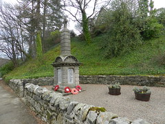 Craigellachie War Memorial, Craigellachie, Speyside, Feb 2019 (allanmaciver) Tags: craigellachie war memorial 1914 1919 1939 1945 remember service sacrifice world parish wreath names respect district speyside scotland allanmaciver