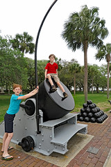 mortar (FAIRFIELDFAMILY) Tags: charleston sc south carolina southern architecture design column building ocean coast coastal history historic cannon mortar balls park child boy young old granite post office cobblestone road walking live oak civil war artillery family vacation explore house home rainbow row