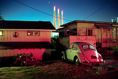 (patrickjoust) Tags: fujica gw690 kodak portra 160 6x9 medium format c41 color negative film cable release tripod long exposure manual focus analog mechanical patrick joust patrickjoust usa us united states north america estados unidos red after dark night california ca old car auto automobile green morro bay power plant smokestacks peace sign tail light house home wood pile star streak stream