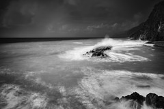 Stormy sea (Rico the noob) Tags: dof landscape nature water outdoor madeira clouds blackandwhite longexposure published 1120mm ocean monochrome coast bw beach wave sky sea 2017 d500 1120mmf28