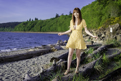 Amarilla (Shawn Herring) Tags: yellow dress female model beach red hair logs water ocean puget sound carkeek park grass sony a7iii a7 iii sandals sand shawn herring seattle girlsinyellow