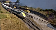 APT-E at Welby Lane Test Track. (ManOfYorkshire) Tags: apte rapido trains train railway layout welbylane rtc technical centre test track oogauge 176 scale neepsend exhibition 2019 1970s