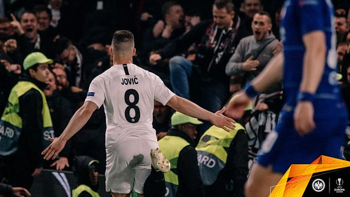 Eintracht Frankfurt - Europa League semi-final 2nd leg  v Chelsea - Jovic celebrates his equaliser - 2-2 on aggregate