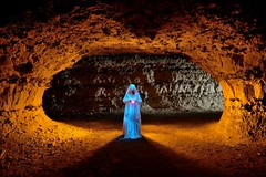 The watchwoman of a broken dream (palateth) Tags: lightpainting lightart night nophotoshop singleexposure urbex abandonnedplace backlight tunnel underworld