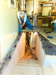 A useful hole in the floor (Canadian Dragon) Tags: 2018 bc canada dschx5c nanaimo september vancouverisland cutting fall hole opening sawing sawsall stairs tobasement