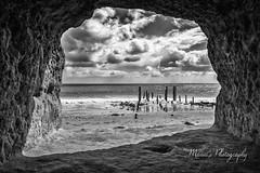 DSC_7763-Port Willunga Caves B&W (Manni750) Tags: port willunga cave poles jetty decay community local history sky clouds sea ocean water sand beach rocks black white