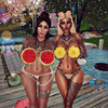 Elora & Raven - Yummy Fruits (Elora Moon) Tags: secondlife friends friendship love fun selfie photography games poses family sisters fruit beach