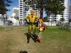 The Reverse Flash and Squirrel Girl (and either Monkey Joe or Tippy Toe) (Sconderson Cosplay) Tags: goldnova supanova gold coast 2019 cosplay superheroes convention exhibition centre reverse flash eobard thawne dc comics marvel arrowverse squirrel girl doreen green monkey joe tippy toe