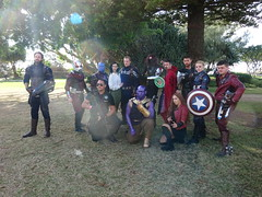 Avengers Assemble - Cap, Ant-Man, Yondu, Peggy Carter and Steve, Winter Soldier, (Sconderson Cosplay) Tags: goldnova supanova gold coast 2019 cosplay superheroes convention exhibition centre marvel comics captain america steve rogers avengers antman scott lang yondu udonta peggy carter winter soldier james buchanan bucky barnes doctor stephen strange thor odinson sharon starlord peter quill scarlet witch wanda maximoff shield thanos