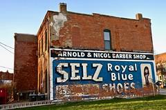 Selz Royal Blue Shoes, Chenoa, IL (Robby Virus) Tags: chenoa illinois il ghost sign signage ad advertisement selz royal blue shoes arnold nicol barber shop