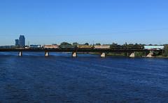 Crossing the Grand (GLC 392) Tags: downtown down town river bridge crossing mmrr gre mid michigan grand rapids eastern railroad railway train emd gp9 24 mi gw freight