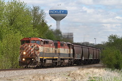 BCOL 4604 west in Hinckley, Illinois on May 10, 2019. (soo6000) Tags: bcol britishcolumbiarailway bcol4604 4604 c408m ge hinckley illinois xcsxwol9 emptygraintrain bnsf aurorasub matchedpair fallenflag foreignpower grain train railroad manifest freight