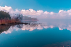 Islands in the mist (Daniel Q Huang) Tags: foggy lake island sky clouds waterscape colorful trees reflections